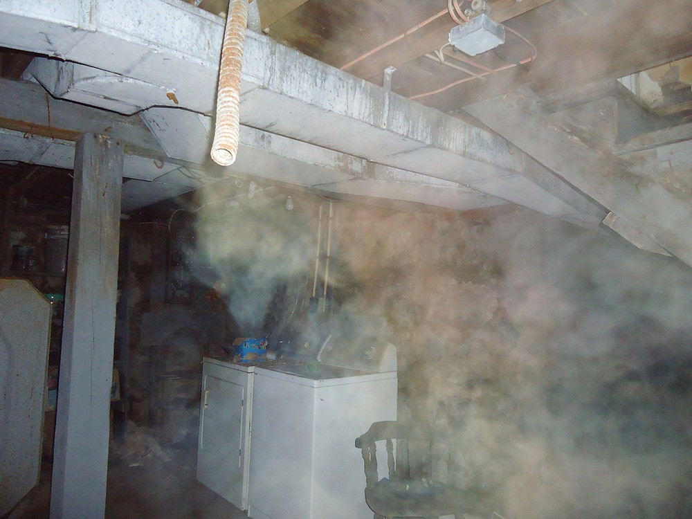 Mist captured in the basement of the Radio Shack House