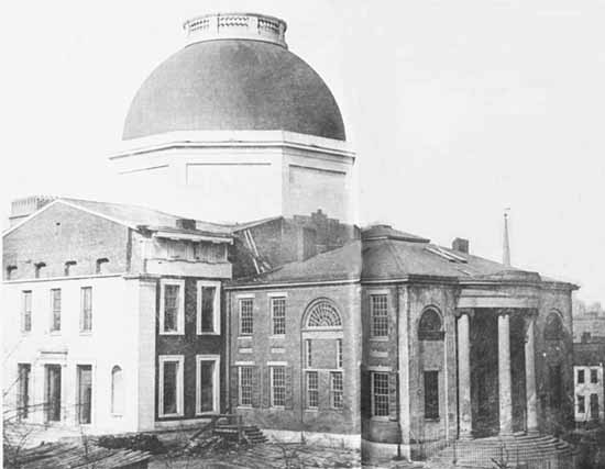 The Old Courthouse, circa 1850's.  Photo lincoln.lib edu