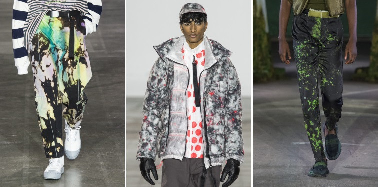 Modelos usando peças de roupas com manchas toque artistico