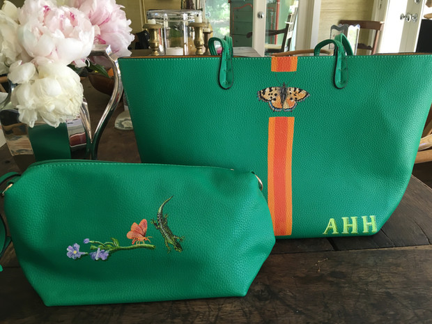 Vegan leather tote and pouch with stripes, owners initials, butterflies, lizard and flowers