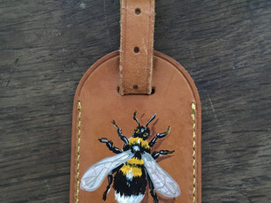 Louis Vuitton luggage tag hand painted with bee