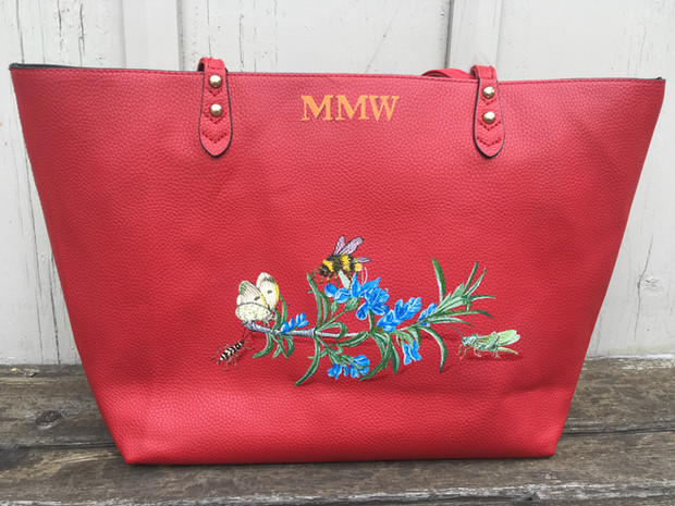 Leather tote hand painted with owners initials, rosemary and various insects