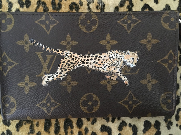 Louis Vuitton pouch hand painted with a cheetah
