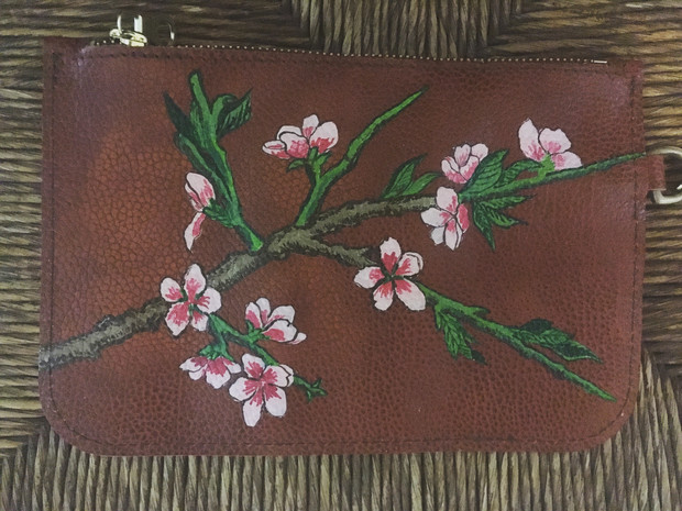 Leather pouch hand painted with a branch of cherry blossoms