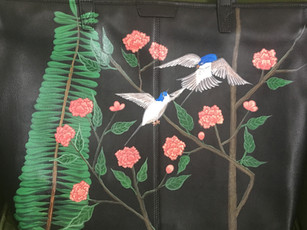 Leather tote hand painted with chinoiserie peonies, plants and swallos