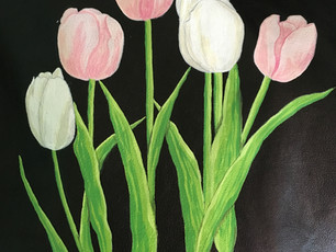 Black leather jacket painted with tulips