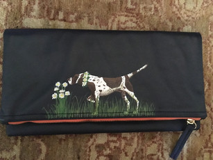 Leather fold over clutch hand painted with hound and flowers, with owners initials on inside of clutch