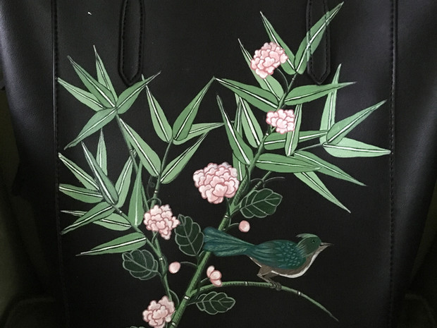 Leather tote hand painted with bamboo, peonies and a chinoiserie bird