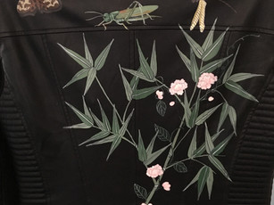 Leather jacket hand painted with chinoiserie bamboo, peonies and insects