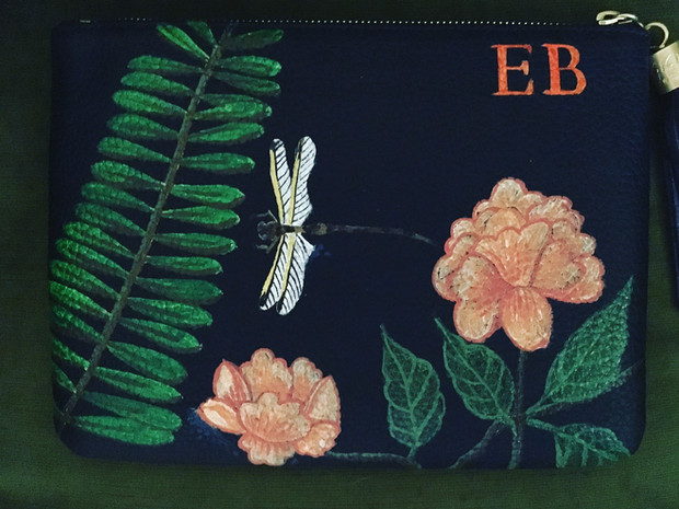 Leather pouch hand painted with owners initials, peonies, a dragonfly and branch of leaves