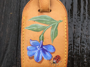 Louis Vuitton luggage tag hand painted with auricula and ladybug
