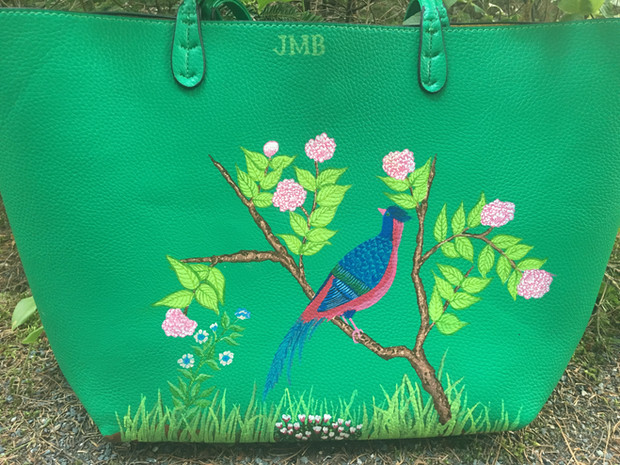 Tote hand painted with chinoiserie pheasant, flowering peony branches, cyclamen and owners initials