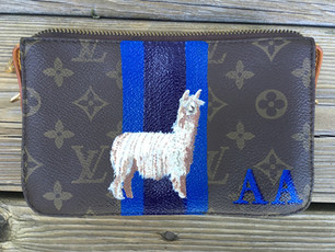 Louis Vuitton pouch hand painted with owners initials, stripes and pet suri alpaca