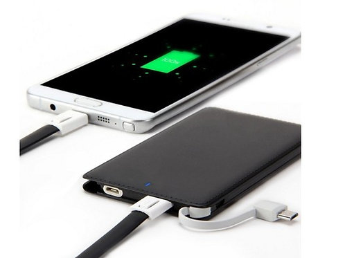 4000mAh Slimpower Credit Card Power Bank Built-in Cable