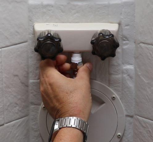 RV shower hose install