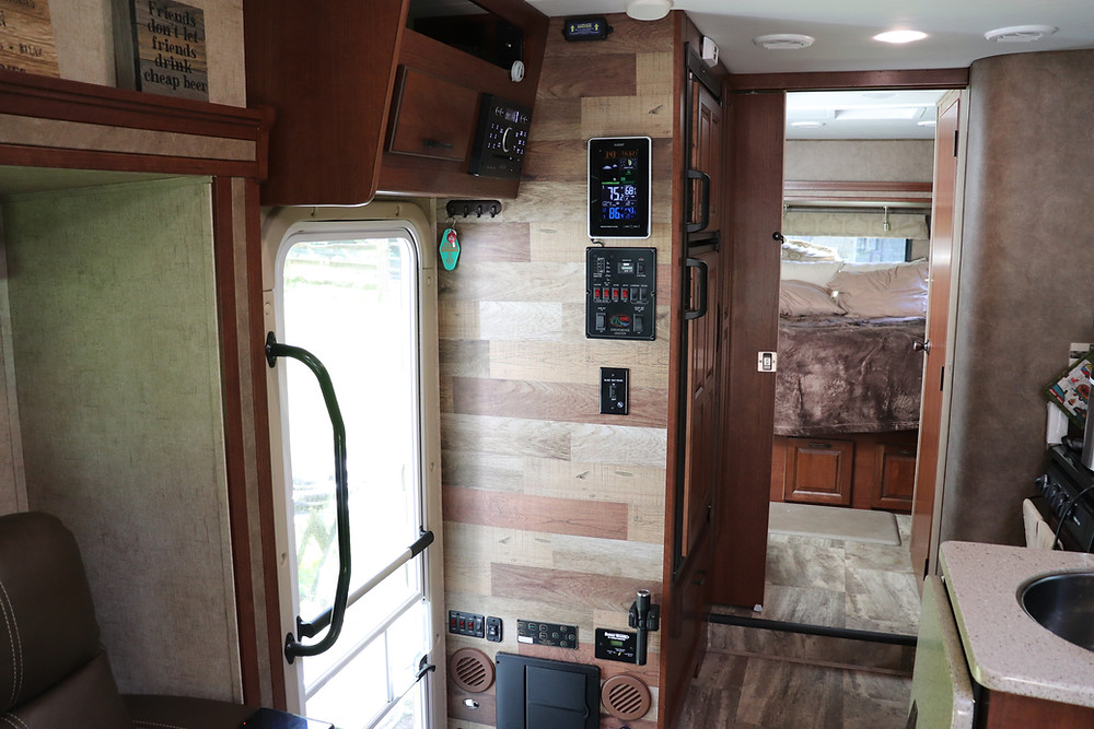 Rv Wall Makeover Faux Wood Panels Peel And Stick