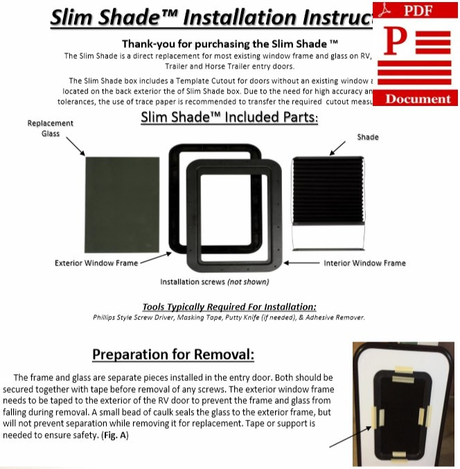AP Products Slim Thin Shade Instructions