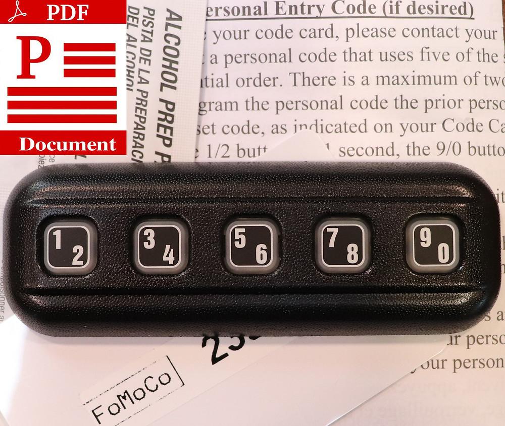 Ford Keyless Keypad Instructions PDF