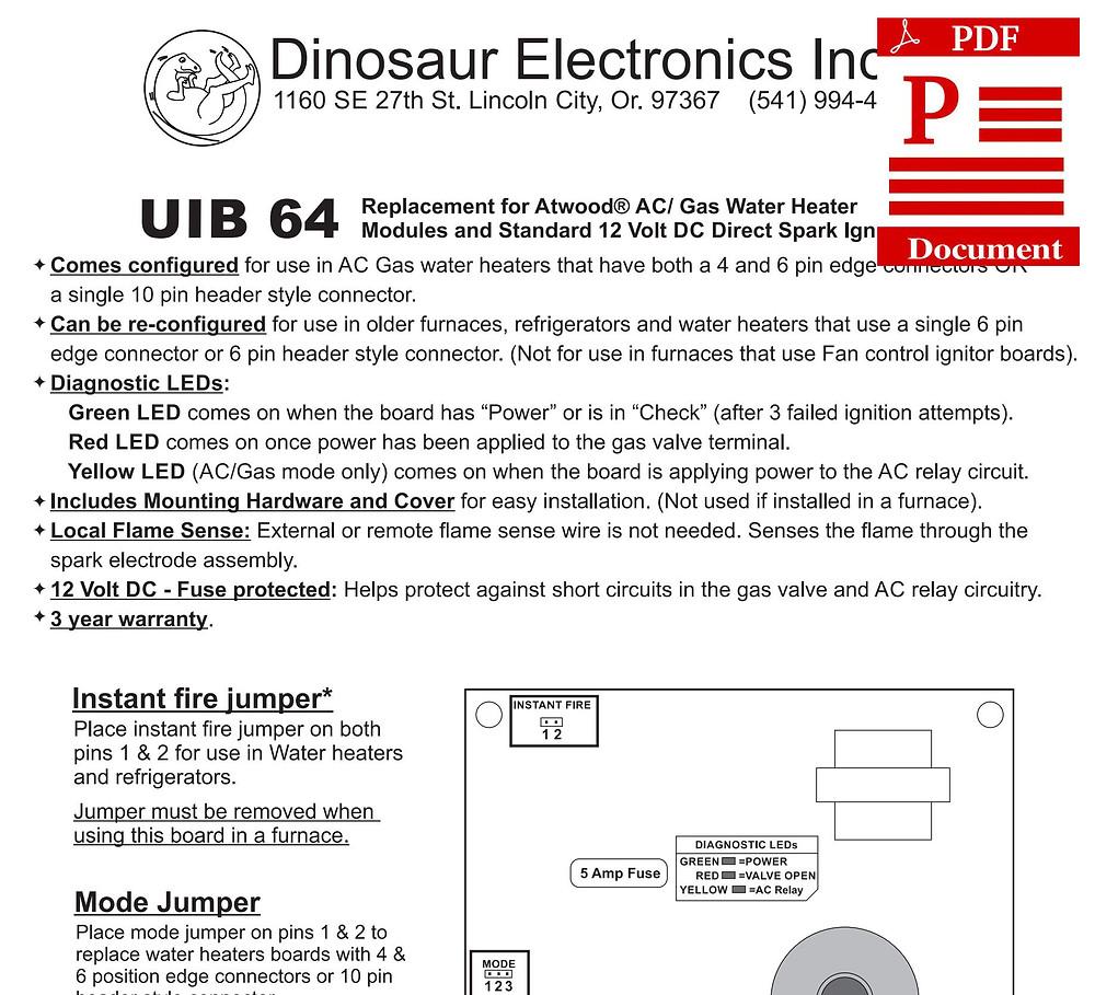 Dinosaur Electronics UIB 64 Instruction Sheet