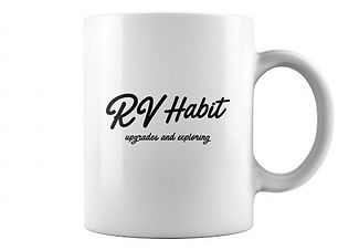 RV Habit White Paradise Logo coffee mug