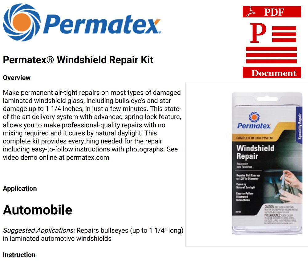 Permatex Windshield Repair instructions directions