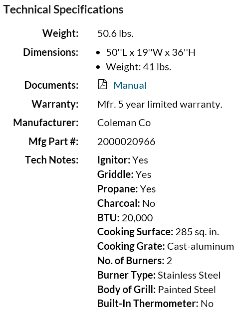 Coleman RoadTrip Classic LX Grill technical specifications