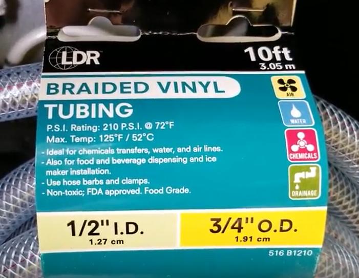 "1/2"" braided vinyl tubing"