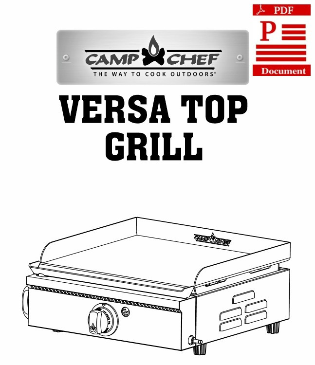 Camp Chef Versa Top Grill Instructions Manual