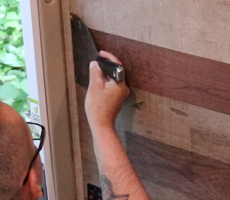 install faux wood panel