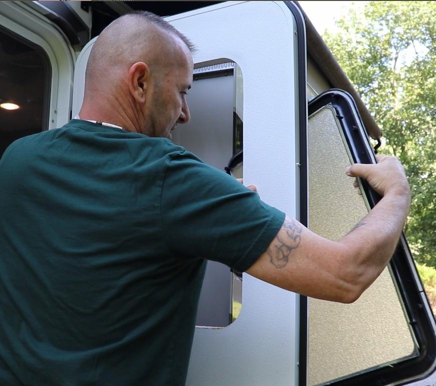 RV door window install