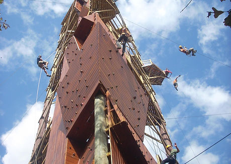 World's tallest free-standing rock wall on the Adventure Tower at Banning Mills