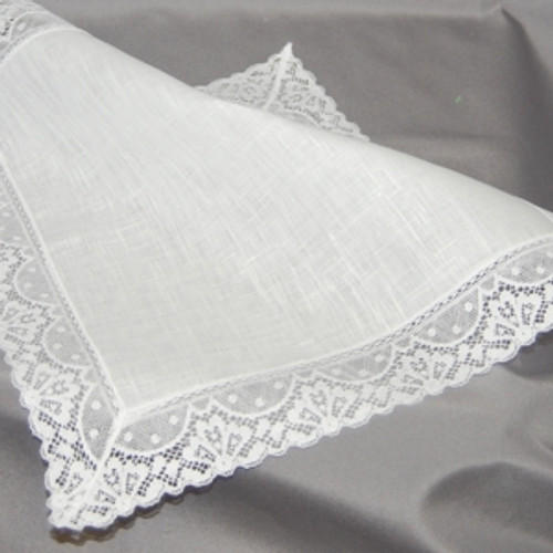 White Irish Linen And Lace Handkerchief