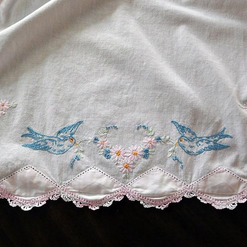 Bluebirds Dresser Scarf Runner Pink Crochet Edge