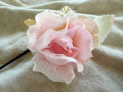 Velvet and organza pink silk rose linen cottage vintage linens classical vintage style velvet flower rose hand dyed velvet and organza flower and leaves probably one of the most beautiful silk roses ever made mightylinksfo