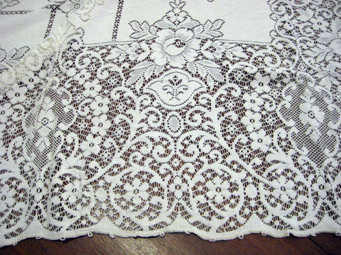Ecru Quaker Lace Tablecloth 64x84 Rectangle #0030