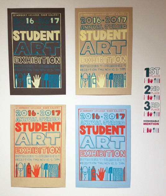 Screenprinted show posters and digitally-designed award cards
