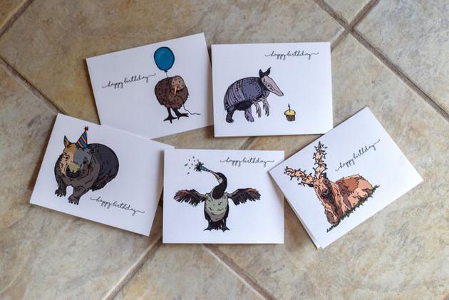 Funky Animal Birthday Card Set: Kiwi