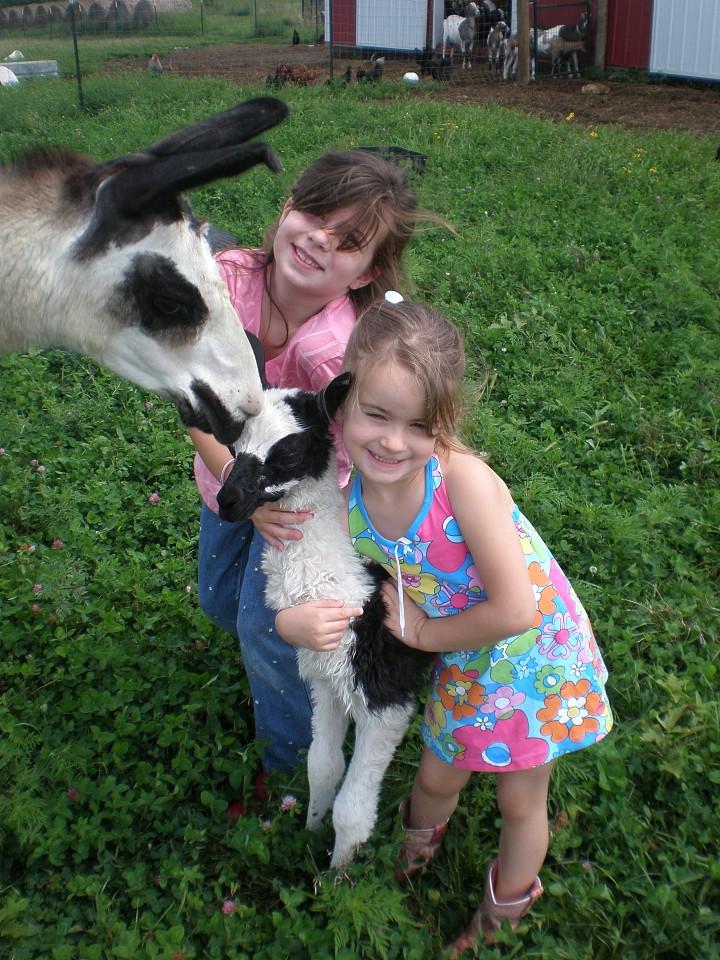 Rachel and Grace with Kiki Llama and Baby Leroy, 2008