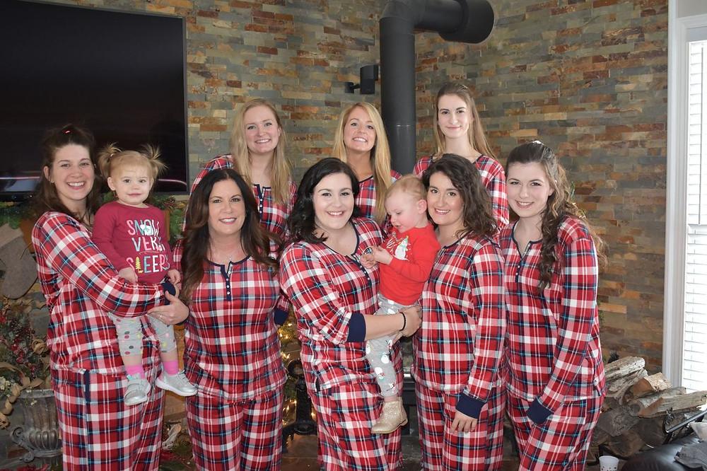 Christmas 2019; Cassie with Kyra, Me, Tarah, Kelsea with Abigail, Haley, Emily, Gracie, and Rachel