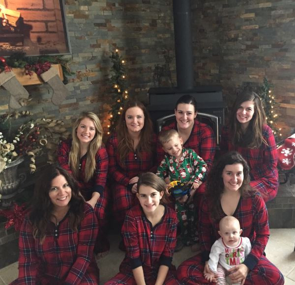 Our Christmas in 2017; Back row: Haley, Tarah, Kelsea with Henry, Rachel; Front row: Me, Gracie, Emily with Abigail