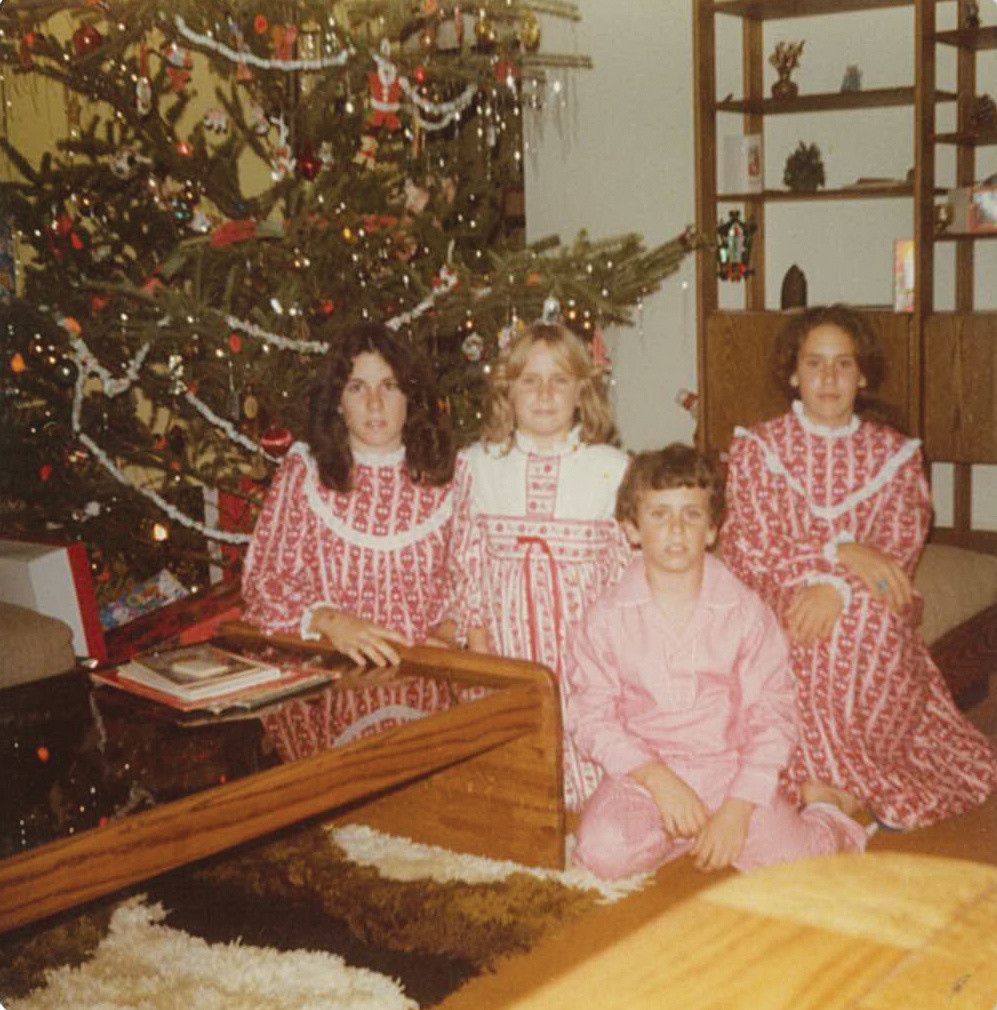 A Huxley Christmas, Circa 1978; From left, me, and my siblings Jackie, Jimmy, Jeane