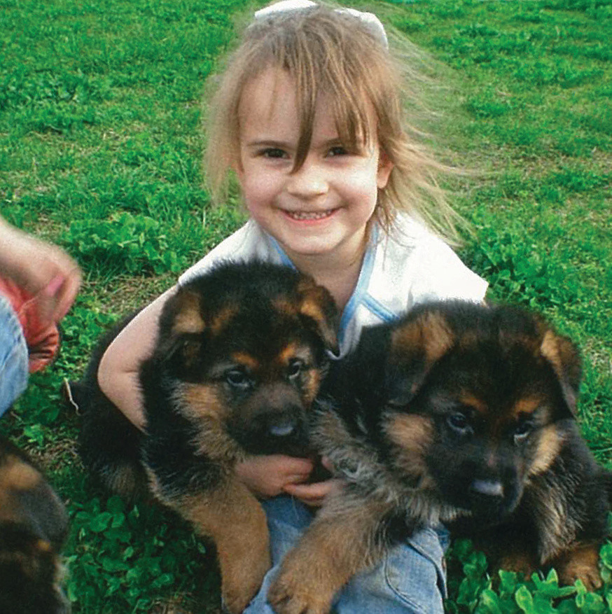 Grace with Some of Our Shepherd Pups, 2006