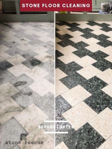 before and after stone floor cleaning se