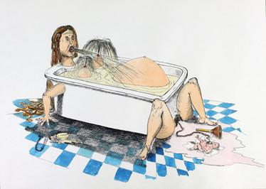 Femme baignoire