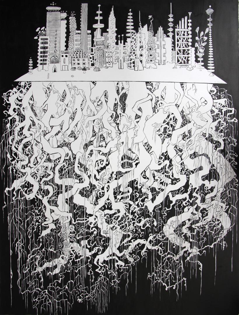 Dessins, 2011 Dessin à l'encre de chine  sur papier Dimensions : 50 x 60 cm Camille Goujon