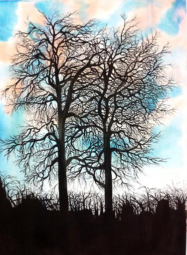 Dessin à l'encre de chine et aquarelle sur papier 60 x 80 cm