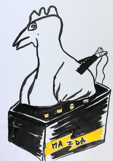 Poule en batterie