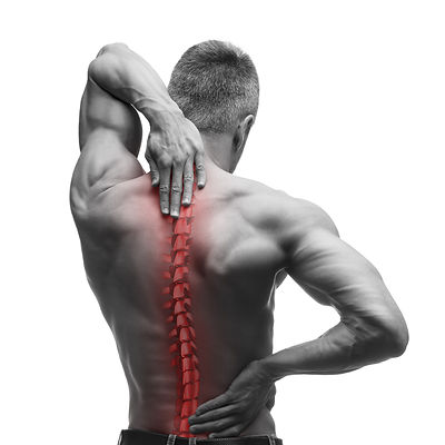 Spine pain, man with backache and ache i