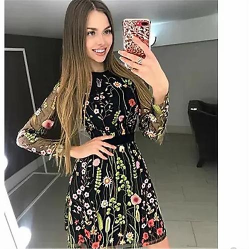 Floral Embroidery Dress Sheer Mesh Summer Boho Mini A-line Dress - Black