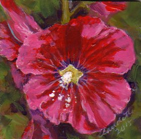 A Painting a Day #59 -  Hollyhock
